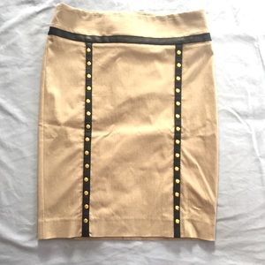 The Limited Pencil Skirt with Faux Leather & Studs